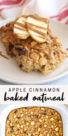 This apple cinnamon baked oatmeal is inspired by traditional Amish baked oatmeal and studded with apples, raisins and loads of cinnamon flavor. It's the vegan, gluten-free and great for meal prep. Recipes for 2 Apple Cinnamon Baked Oatmeal Healthy Sweets, Healthy Baking, Healthy Protein, High Protein Foods, Easy Healthy Lunch Ideas, Healthy Vegetarian Recipes, Healthy Foods, Vegan Recipes Healthy Clean Eating, Healthy Strawberry Recipes