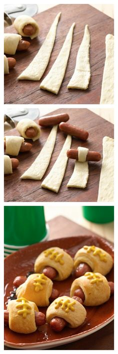 Pigskins in a Blanket (crescent dog footballs) are perfect game-day snacks! Are you ready for some crescent dog footballs? All your rowdy friends will enjoy these fun game-day snacks. Game Day Snacks, Snacks Für Party, Game Day Food, Appetizers For Party, Super Bowl Appetizers, Appetizer Ideas, Snack Recipes, Cooking Recipes, Super Bowl Recipes