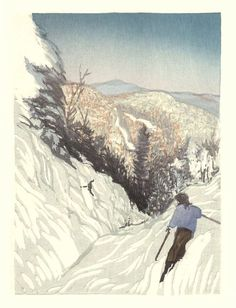 Matt Brown, Paradise at Mad River Glen, woodblock print Snowboard Design, Wood Engraving, Woodblock Print, Printmaking, Scenery, Matt Brown, Mad, Paradise, Art Prints