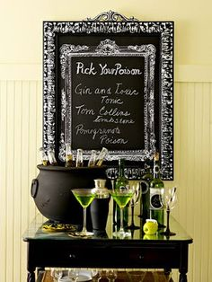 halloween-party-decorations-table-setting  - pick your poison menu