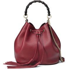 Gucci Miss Bamboo Medium Leather Bucket Bag ($2,500) ❤ liked on Polyvore featuring bags, handbags, burgundy, accessories handbags, leather handbags, genuine leather purse, real leather handbags and red leather handbag