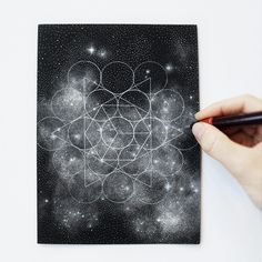Stippled Black and White Illustrations of Star-Packed Galaxies by Petra Kostova | Colossal