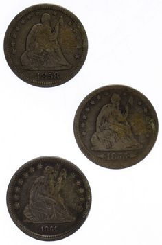 Lot 12: Seated Liberty 25c Assortment; (3) coins including 1855, 1858 and 1861