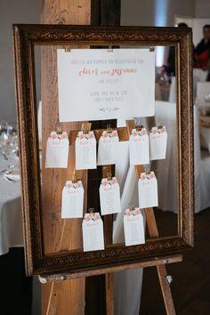 Tischplan / Sitzplan bei der Hochzeit im Bilderrahmen. Foto: Sandra Hützen