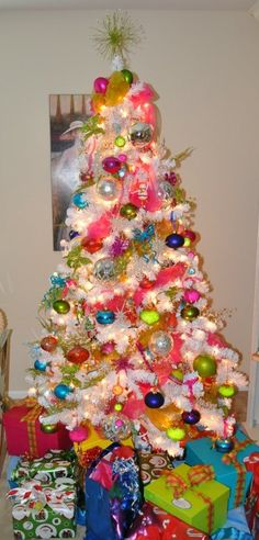 Bright colors, Christmas decorations and White xmas tree ...