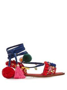 Pompom-embellished leather flat sandals | Dolce