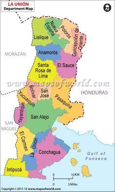 Mapa del departamento La Unión. Cabecera: La Unión. Cortesía grupo Beautiful El Salvador.