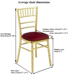 measurement of a chiavari chair - Google Search | Tent ...