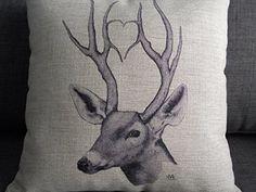 "Decorbox Cotton Linen Square Throw Pillow Case Decorative Cushion Cover Pillowcase for Sofa Deer 18 ""X18 """