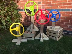 Let the adventures begin with this portable steering wheel.This portable steering wheel is a must for all budding explorers. Can be stood on a crate, block or similar item to create any vehicle.Diameter of steering wheel: Preschool Garden, Sensory Garden, Apricot Ideas, Autumn Eyfs, Creative Area, Sensory Wall, Outdoor Play Areas, Grasshoppers, Backyard Play