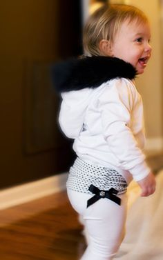 Baby Girl Yoga Pants with Polka Dot Ruched by OverTheMoonApparel, $28.00