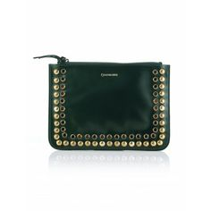CHOCOLATE-GREEN FLAT LEATHER CLUTCH BAG WITH STUDS AND STRASS #lautrechose #trend