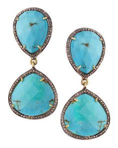 Turquoise & Diamond Earrings by Bavna at Neiman Marcus Last Call.