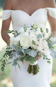 Bride's Bouquet What Should You Consider When Choosing Bridal Flowers? Wedding days are considered as one of the most special and unique days in their lives fo. White Wedding Bouquets, Bride Bouquets, Flower Bouquet Wedding, Floral Wedding, Wedding Colors, Wedding Dresses, Bridal Flowers, Greenery For Bouquets, Trendy Wedding