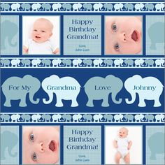 Printed in several shades of soft blue and teal, this photo gift wrap features a rows of elephants and four photos of your little one. Personalize with four custom messages, the recipient, and the baby's name. Measures 19.75 x 76.75in. One roll will wrap three medium size gifts.