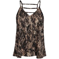 Boohoo Natalie Caged Back Snake Print Woven Cami ($10) ❤ liked on Polyvore featuring tops, cami tank, brown tank top, brown camisole, brown tank and flat top