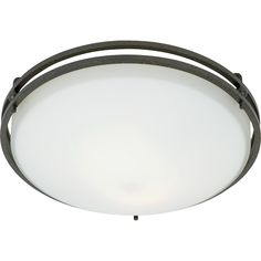 "Quoizel|OZ1613IN|Flush mount iron gate 12.5d"".  2x60W, ?also nickel.  May be out of stock"