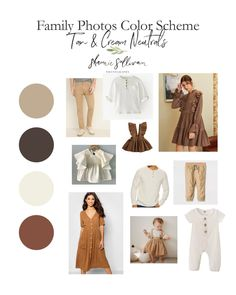 Family Photo Outfits Color Schemes - Tan & Cream Neutrals are about as simple, earthy, and neutral as you can get! This color scheme could be use with Fall Family Picture Outfits, Family Pictures What To Wear, Family Picture Colors, Fall Family Photo Outfits, Family Photography Outfits, Family Portrait Outfits, Clothing Photography, Family Portraits, Family Posing