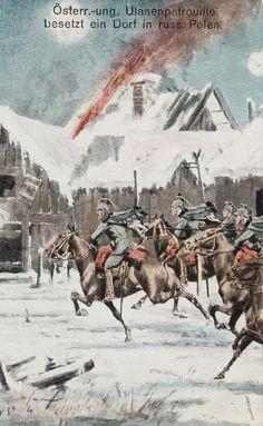"""Bildpostkarte. Erster Weltkrieg. Propaganda. """"Österreichisch-Ungarische Ulanenpatrouille besetzt ein Dorf in russisch Polen"""" Farblithographie. Um 1916. © IMAGNO/Archiv Jontes"""