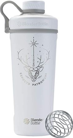Amazon.com: BlenderBottle Radian Stainless Steel shaker bottle, 26-Ounce, Expecto Patronum: Kitchen & Dining Harry Potter Drinks, Harry Potter Merchandise, Blender Bottle, Shaker Cup, Shaker Bottle, How To Make Smoothies, Making Smoothies, Wire Whisk