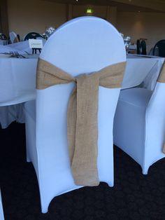 White Lycra Chair Cover Hessian Sash