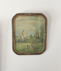 Antique Equestrian Art Fox Hunt Print Horses by VivaTerraVintage