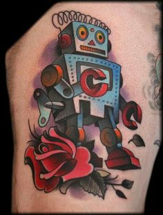 tattoo old school / traditional ink - robot