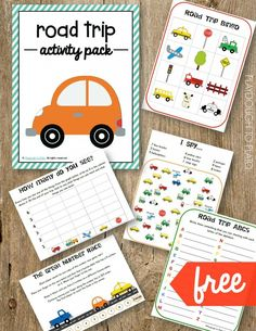 Free Road Trip Activity Pack. Bingo, I Spy, Road Trip ABCs... lots of fun ideas for kids!