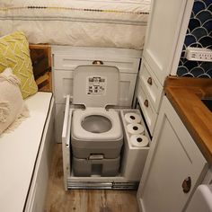 found that this is a great system to storage the toilet, very functional and comfortable. Where do you storage yours?…We found that this is a great system to storage the toilet, very functional and comfortable. Where do you storage yours? Sprinter Camper, Bus Camper, Camper Life, Rv Campers, Cargo Trailer Camper, Tiny Camper, Teardrop Campers, Bus Life, Teardrop Trailer