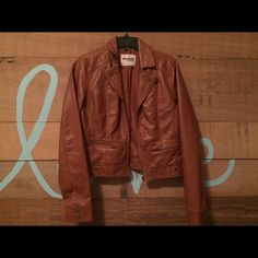 Brown leather jacket!! Brown leather jacket, only worn once. PERFECT CONDITION. Size LARGE but fits as a SMALL. Runs small! Charlotte Russe Jackets & Coats