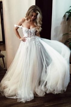 Unique off shoulder ivory long wedding dress with appliqués, sweetheart wedding dresses € - SchickeAbendKleider.de Unique off shoulder ivory long wedding dress with appliqués, sweetheart wedding dresses. Rustic Wedding Dresses, Luxury Wedding Dress, Long Wedding Dresses, Bridal Dresses, Prom Dresses, Tulle Wedding, Dress Wedding, Chiffon Wedding Gowns, Formal Dresses
