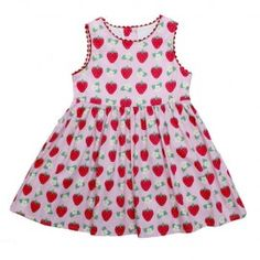 Toby Tiger, Pretty summer party dress in pink strawberry design. Available now at LAFF Kids Clothes in store and online. laffkidsclothes.co.uk