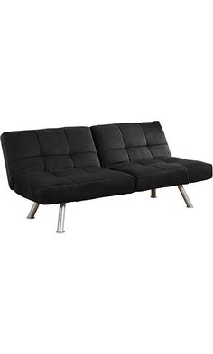 DHP Kaila Sofa Sleeper Convertible Futon Bed with Adjustable Armrests, Slanted Metal Legs and Splitback - Black Best Price