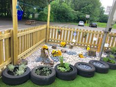 Pebble digging pit, construction area, sensory garden and pulley. Outdoor Learning EYFS Pebble digging pit, construction area, sensory garden and pulley. Outdoor Learning Spaces, Kids Outdoor Play, Outdoor Play Areas, Backyard Play, Outdoor Fun, Eyfs Outdoor Area Ideas, Childrens Play Area Garden, Backyard Games, Preschool Playground