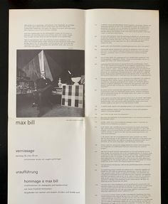 From: Uraufführung: Hommage a Max Bill, (folder), Galerie Hilt Basel, Basel, 1962 Max Bill, Editorial, Graphic Design, Basel, Personalized Items, Visual Communication