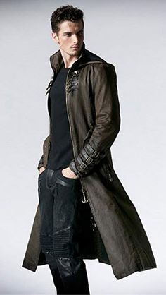 Peony ghost Steampunk Man Coffee Dark Twill Long Coat Leather Loops Hooded Trench Coats Windbreaker Overcoat