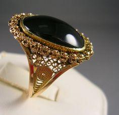 Antique Onyx Ring Art Nouveau 4 carats size by estatejewelryshop, $375.00