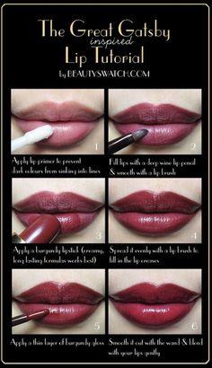 <3 <3 ADD diy www.customweddingprintables.com #customweddingprintables ... The Great Gatsby Inspired Lip Tutorial