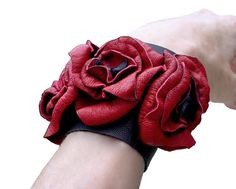 Soft Leather Flowers Cuff Red Leather  Weddings Bridal Cuff Trilogy Bracelet Cuff Wide Leather Cuff Red & Black in stock on Etsy, $225.00