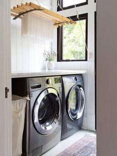 Laundry Rack, Laundry Storage, Laundry Drying, Laundry Closet, White Wood Stain, Laundry Room Remodel, Farmhouse Laundry Room, Laundry Room Design, Polish
