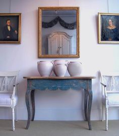 French white pots  Swedish antiques