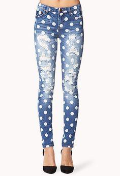 destroyed polka dot skinny jeans