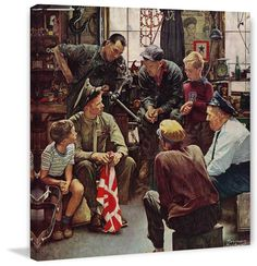 Description: Norman Rockwell's painting, Homecoming Marine, was Rockwell's 232nd cover for The Saturday Evening Post and was featured on the cover on October 13th, 1945. As in typical Rockwell fashion