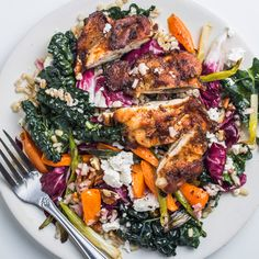 Great lunch idea too: Harissa chicken thighs, hearty greens (kale & radicchio), grains (farro, barley, quinoa, or brown rice), roasted vegetables (bell peppers, scallions), feta or goat cheese, and bits of fruit/nuts ... all tossed together in a quick vinaigrette