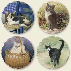 Cat Tumbled Tile Coasters 4 Different Cats - Set of 4 - Cat Coasters, Stone Coasters, Decorative Plates, Tile, Cats, Home Decor, Mosaics, Gatos, Decoration Home