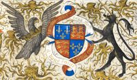 Coat of arms of John of Lancaster, 1st Duke of Bedford, detail from Bedford Hours.