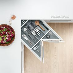 Blum's practical inner-drawer dividing systems optimize storage space and ensure items are easily accessible by tailoring interiors to individual needs. Kitchen Drawer Organization, Kitchen Drawers, Kitchen Storage, Storage Spaces, Organizing Drawers, Kitchen Hacks, Organization Ideas, Kitchen Ideas, Design Blog