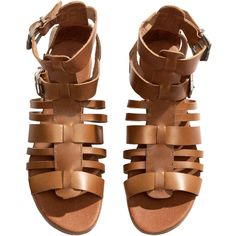 H&M Leather sandals (60 CAD) ❤ liked on Polyvore featuring shoes, sandals, shoes - sandals, flats, cognac brown, h&m, flat shoes, brown shoes, cognac shoes and leather shoes