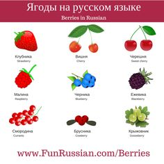 Fruits and Berries in Russian. Read the article - http://www.funrussian.com/berries and learn more Russian words!