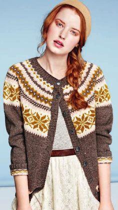 Bilderesultat for nancy kofte gul grå Fair Isle Knitting, Knitting Yarn, Hand Knitting, Knitting Machine, Crochet Cardigan, Knit Crochet, Clothing Patterns, Knitting Patterns, Cardigan Design